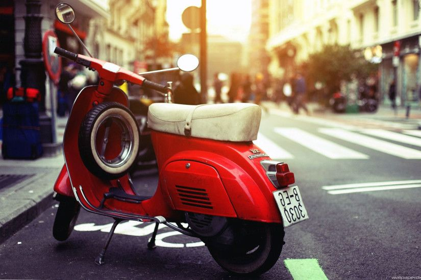 scooter vespa wide full hd wallpaper