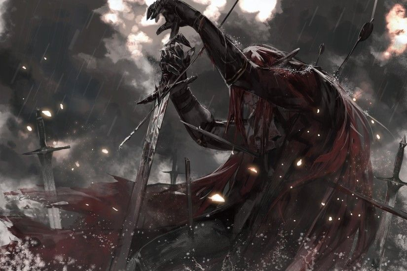 alcd, Leather Armor, Redhead, Blood, Cape, Dark, Sword, Pixiv Fantasia,  Rain, Arrows, Smoke Wallpapers HD / Desktop and Mobile Backgrounds
