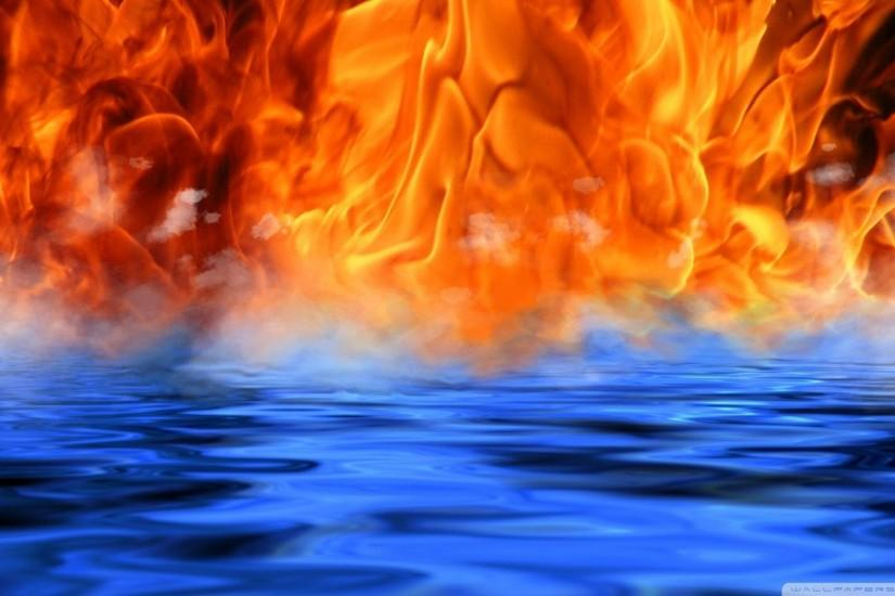 Cool Water And Fire Desktop HD Wallpaper Desktop - Beraplan.
