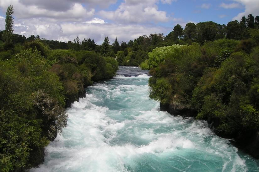 Preview wallpaper new zealand, river, flow, trees 3840x2160