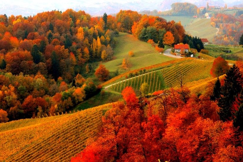 houses foliage fall autumn mountain view lovely hills beautiful trees .