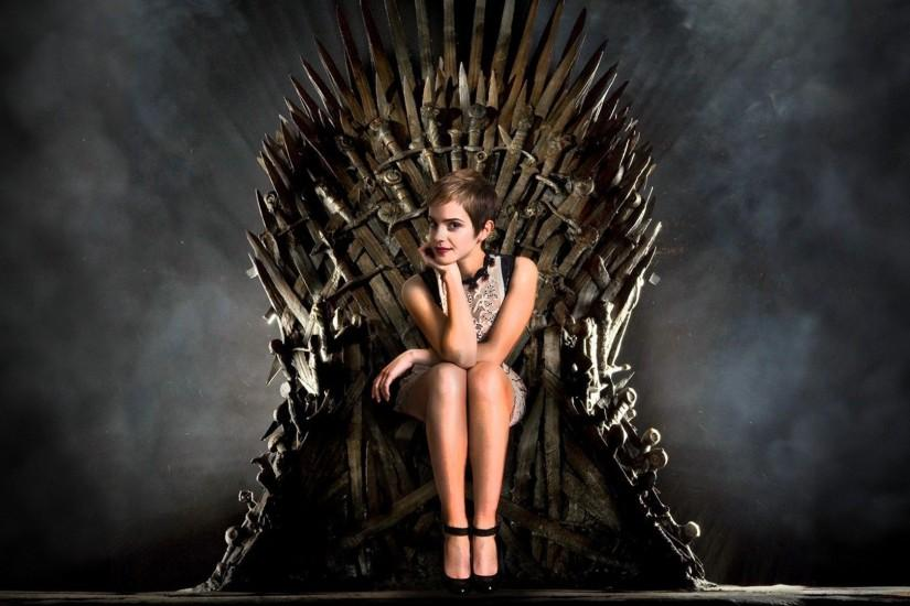 Emma Watson on the Iron Throne - Epic Wallpapers