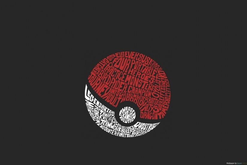 Caligraphy Dark Minimalistic Pokeball Pkemon Typography Wallpaper