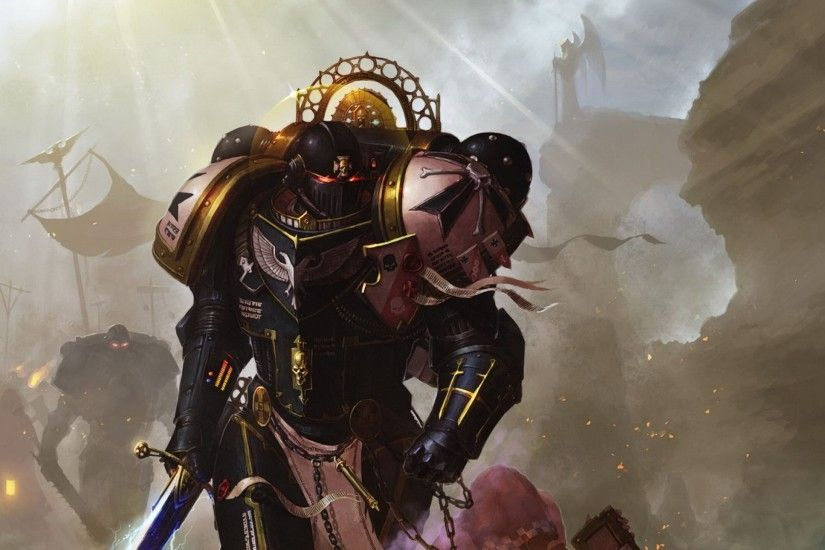 Preview wallpaper warhammer, warhammer 40k, space marines, black templars,  imperors champion 2560x1440