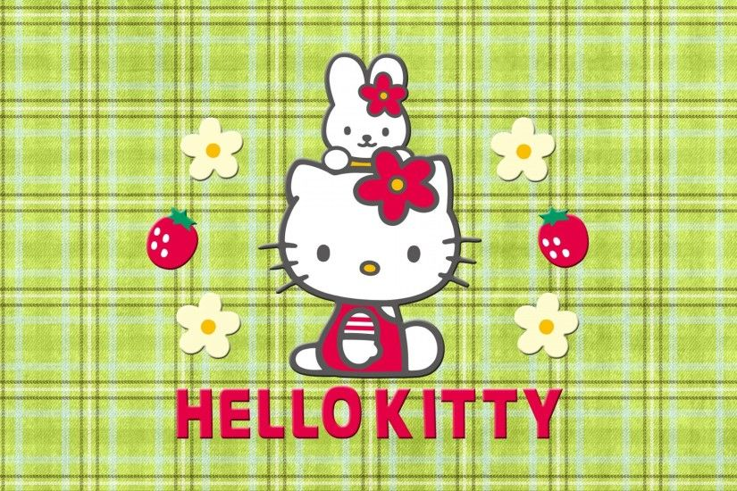Cute Hello Kitty and My Melody with Strawberries, Flowers and green  Stripping Background