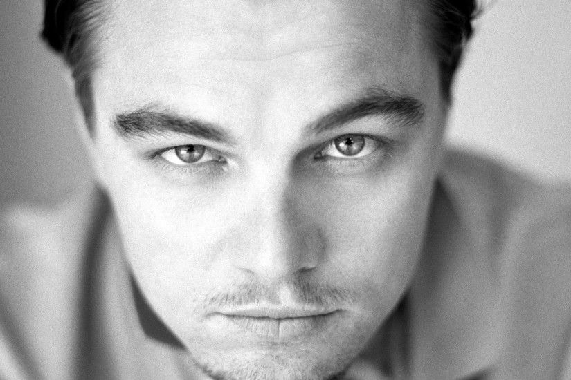 Preview wallpaper leonardo dicaprio, actor, face, hair, bw 3840x2160