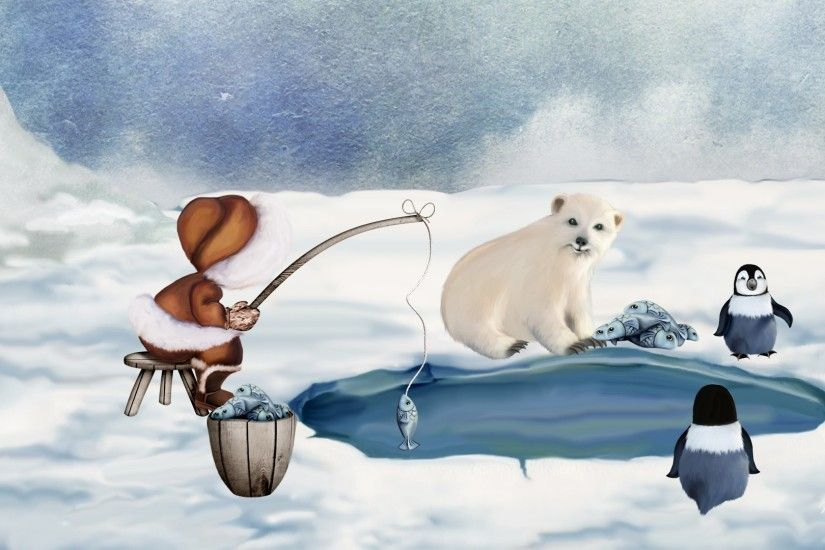 Download Winter Fishing Friends Firefox Persona Alaska North Pole Cold Fish  Penguins Polar Bear Eskimo Snow Winter Ice Wallpaper For Desktop