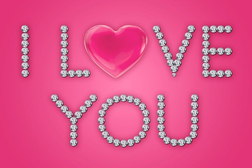 I Love You Diamonds Pink Heart wallpapers and stock photos