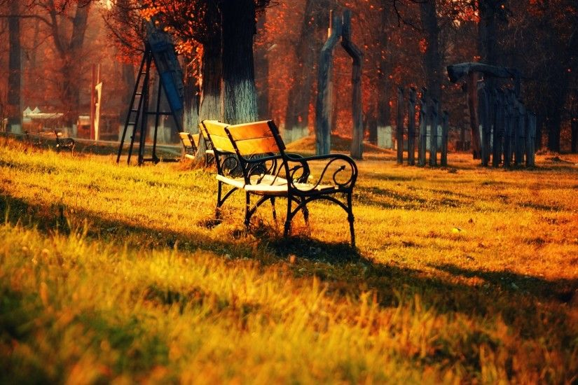 Park Trees Sunset Sunrise Bench Wallpaper Hd 1080p Nature Green - 1920x1080