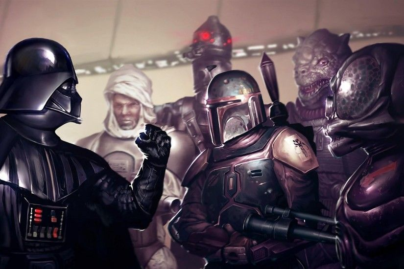 3840x2160 Wallpaper star wars, darth vader, boba fett, fist