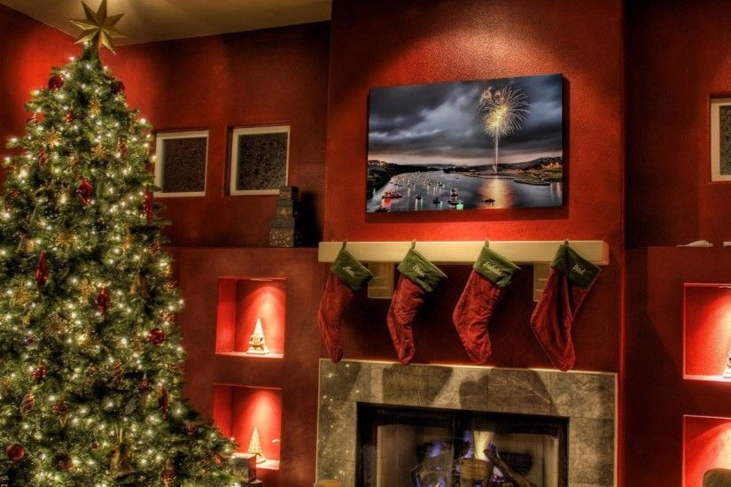 Christmas Fireplace Fire Holiday Festive Decorations E Wallpaper .