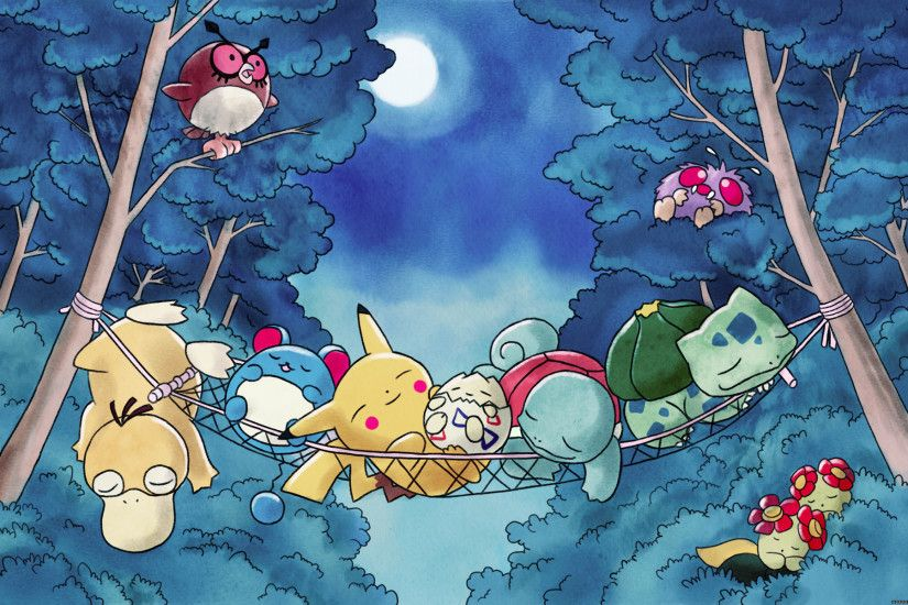 Anime - Pokémon Pikachu Bulbasaur (Pokémon) Psyduck (Pokémon) Forest  Sleeping Wallpaper