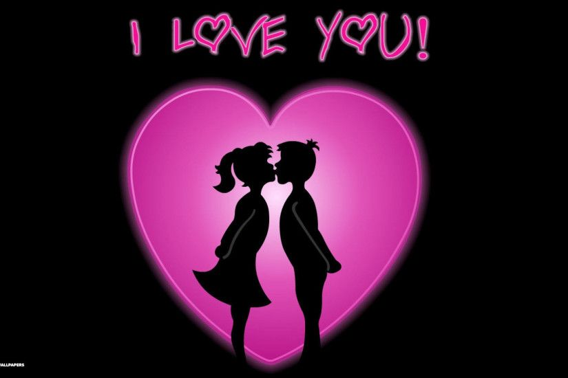i love you couple pink heart widescreen