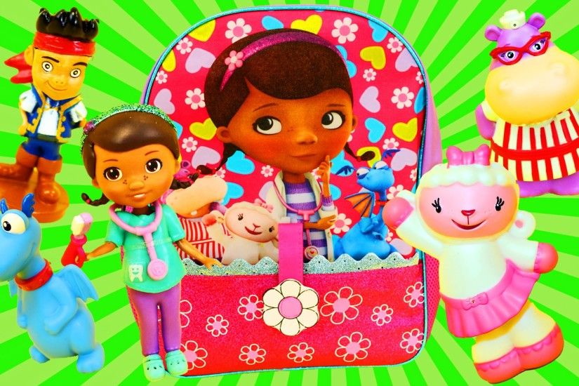 Doc McStuffins SURPRISE Toys Backpack Disney Junior Lambie, Surprise Eggs &  Blind Bags DisneyCarToys - YouTube