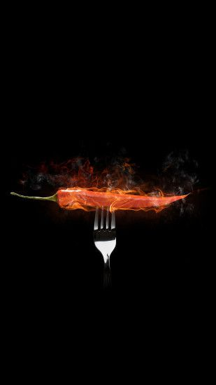 Red Hot Ghost Chili Pepper Flames Fork Illustration Android Wallpaper ...