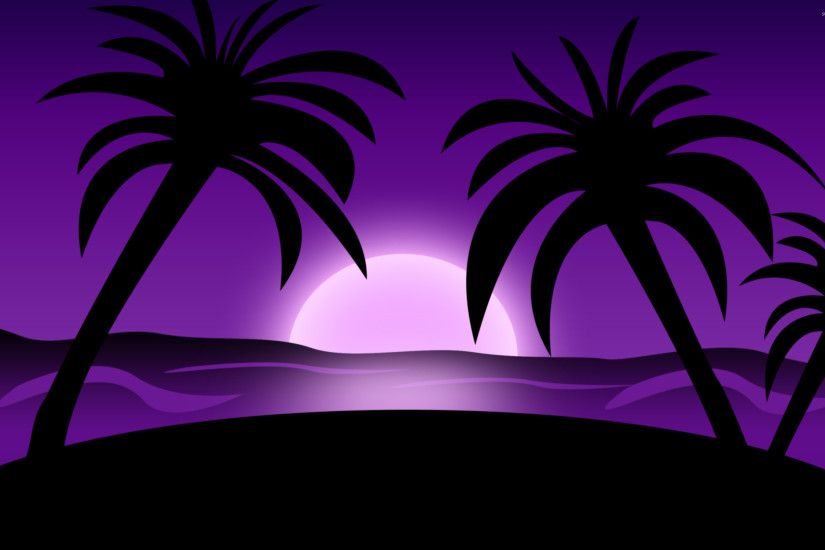 Purple sunset on the beach wallpaper