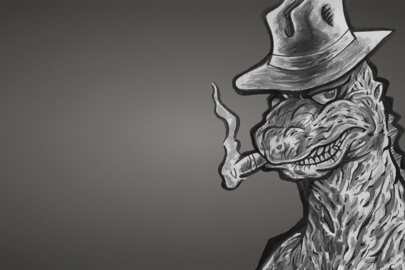 godzilla dinosaur godzilla monster dinozaur dusky background hat cigar a  gangster