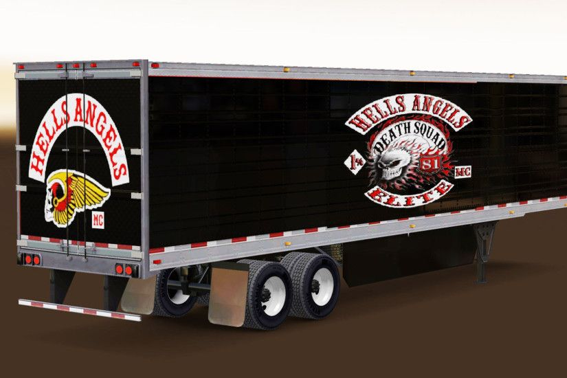 Skin Hells Angels on refrigerated semi-trailer for American Truck Simulator