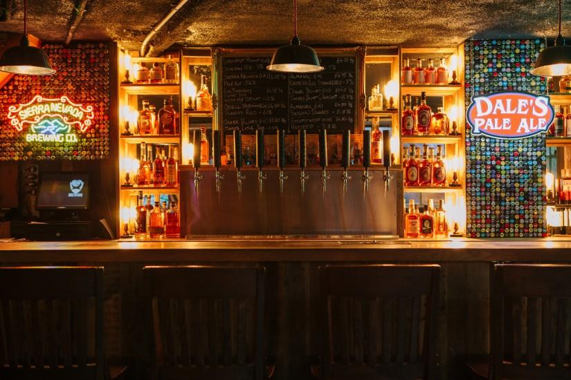 The bar is stocked with a wide range of bourbon whiskey, continuing the  Stateside-styled offering (5,846.3 KB)