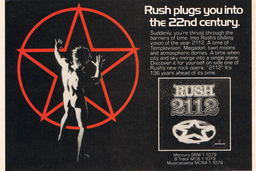 Here's an early advertisement for Rush's ...