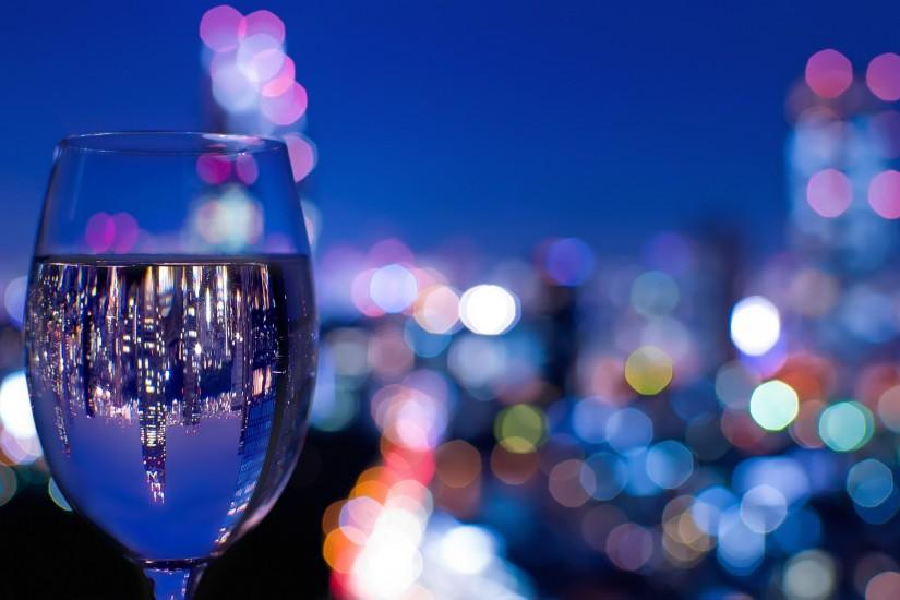 glass wine glass glass reflection night city Tokyo Japan reflections bokeh  close-up wallpaper background