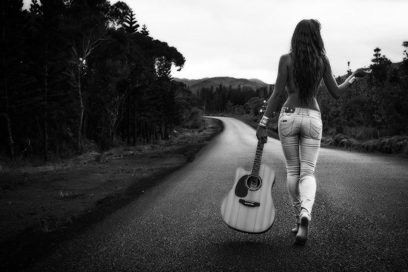 Women Outdoors Women Model Monochrome Road Guitar Wallpaper Hd