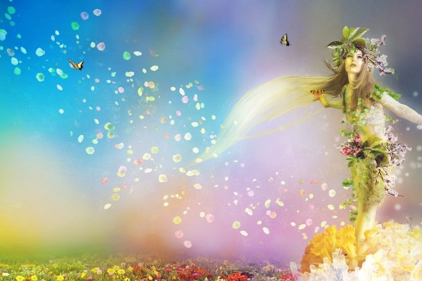 Preview wallpaper spring, nature, flowers, butterflies, girl 1920x1080