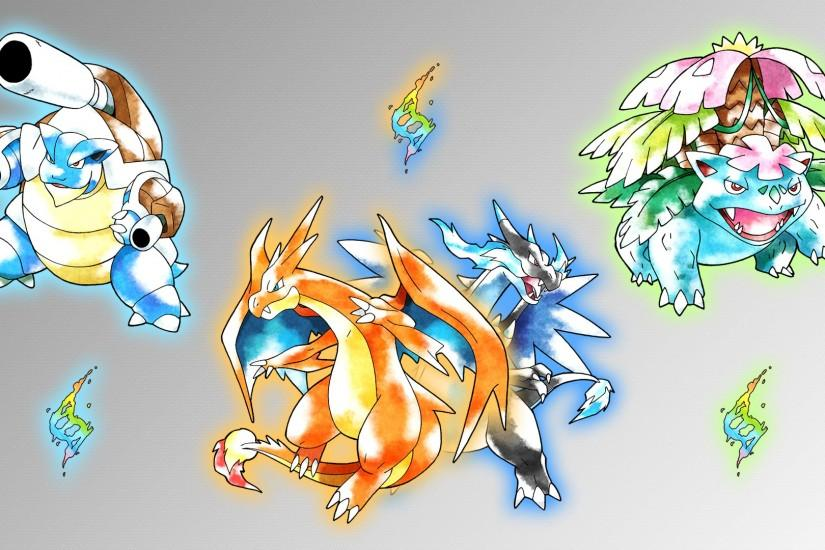 Glench 46 4 Mega Kanto Starters Wallpaper by Glench