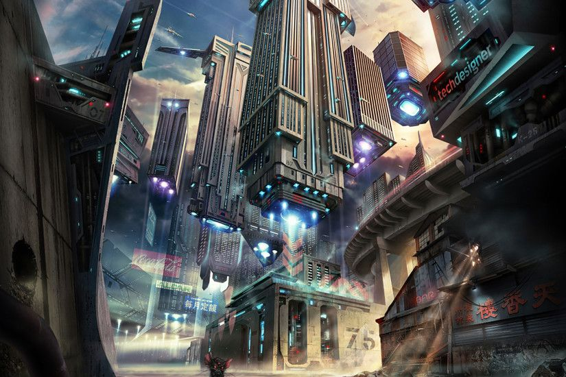 Futuristic City iPad Wallpaper 38