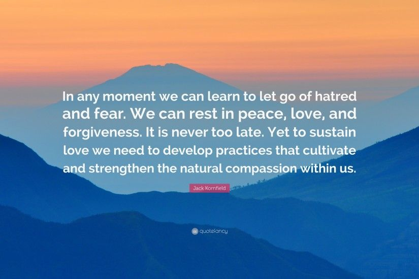 "Jack Kornfield Quote: ""In any moment we can learn to let go of hatred"