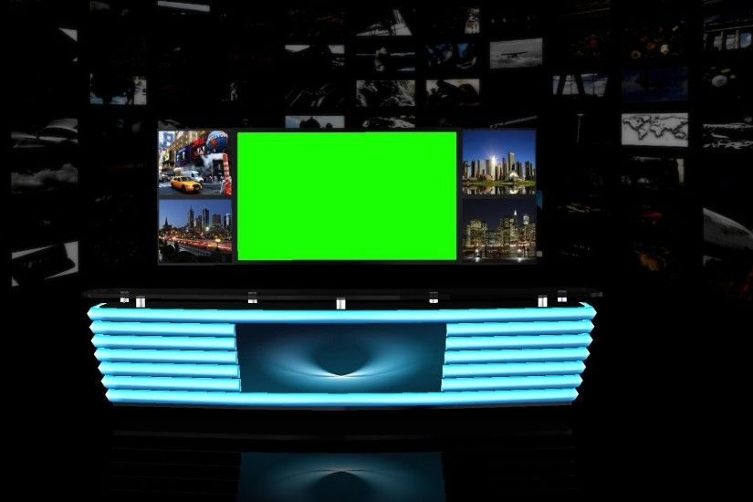 Virtual TV Studio Background - green screen