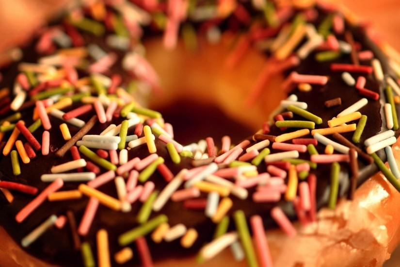 Preview wallpaper donut, sweet, chocolate, caramel, color, glaze 2048x1152
