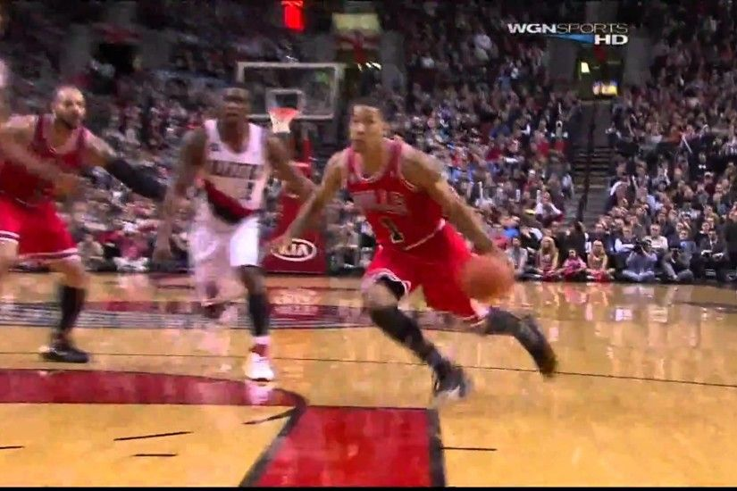 Dunk of the Night: Derrick Rose RIDICULOUS Two-Handed Tomahawk Dunk Against  the Blazers in HD
