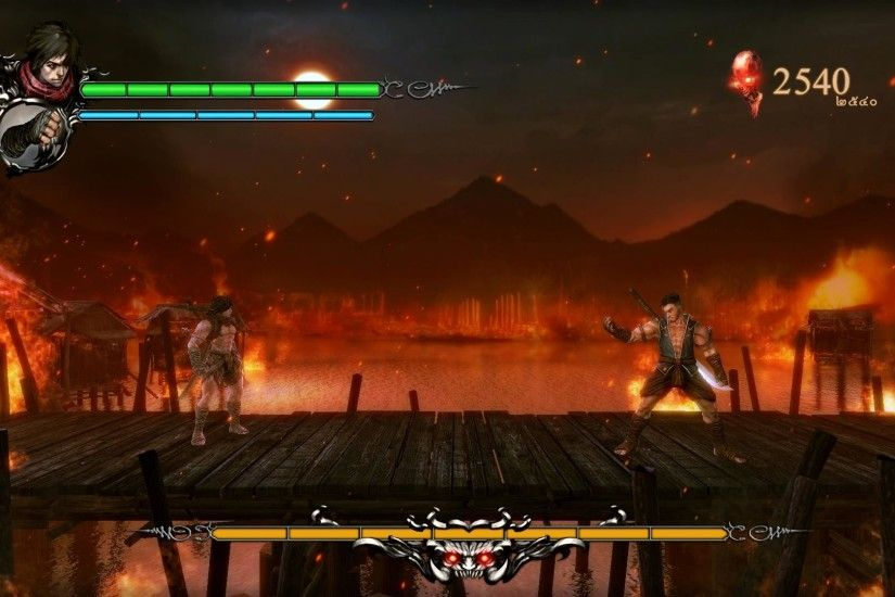 Martial arts boss fight with lava in the background?