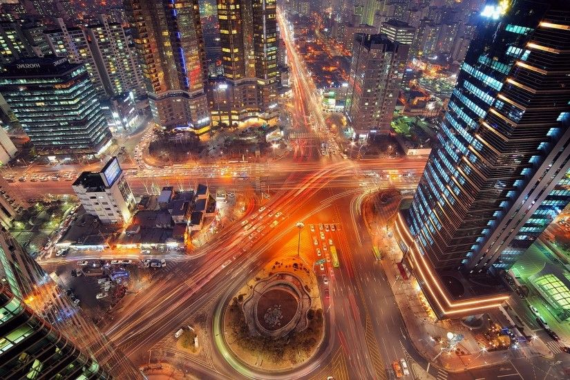 landscape, Road, Highway, City, Night, Long Exposure, Intersections, Light  Trails, Seoul Wallpapers HD / Desktop and Mobile Backgrounds