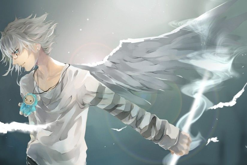 Download Wallpaper 1920x1080 Anime, Boy, Wings, Art Full HD 1080p HD  Background