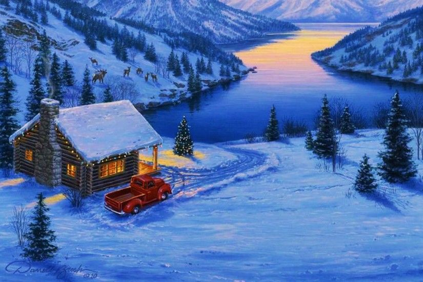 Forest Deer Lake Cottage Snow wallpapers and stock photos