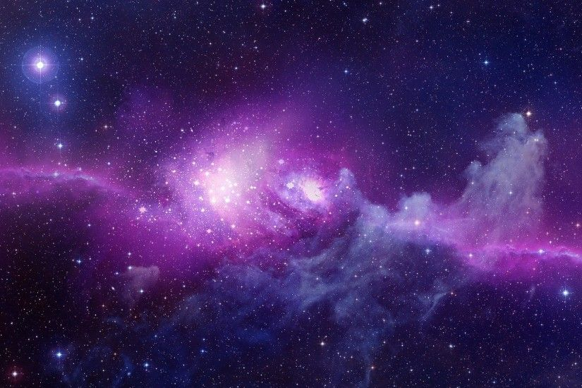 Space Stars Purple Background Wallpaper