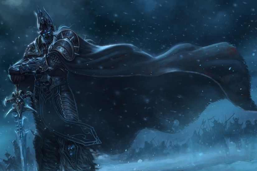 Preview wallpaper warcraft, lich king, sword, cloak, snow, cold 1920x1080