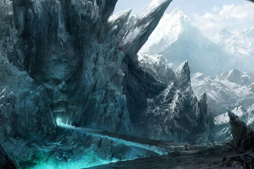 men people mountains fantasy art snow clouds iceberg ice skull Terrain  mountain screenshot computer wallpaper landform