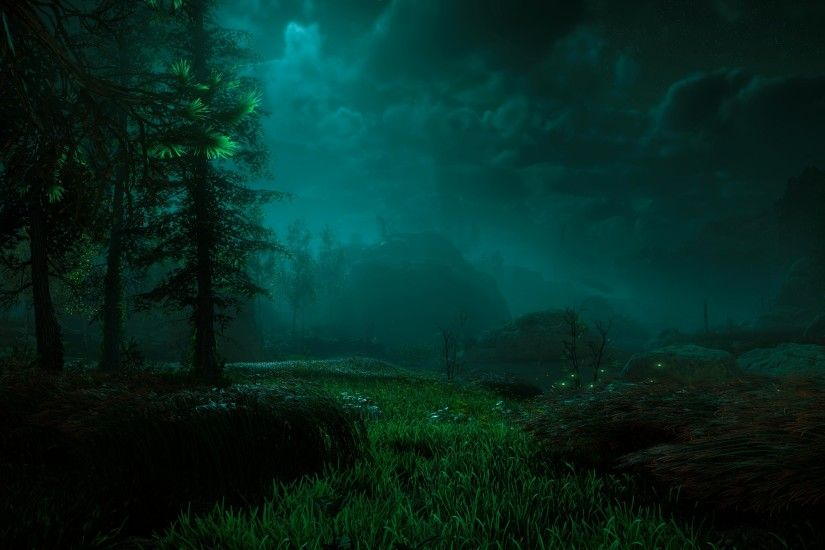 sunlight forest digital art video games night underwater moonlight  PlayStation 4 Aurora Horizon Zero Dawn light