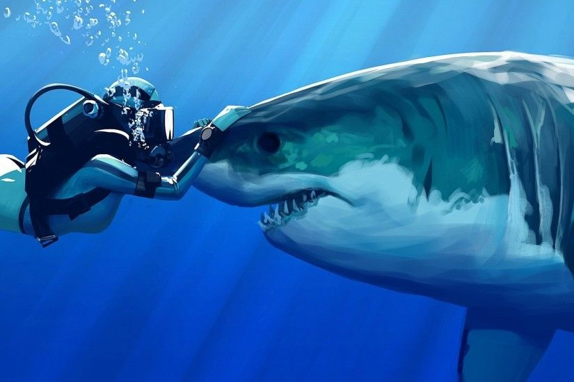 digital Art, Drawing, Underwater, Shark, Sun Rays, Blue, Sea, Bubbles,  Teeth, Women, Divers, Great White Shark Wallpapers HD / Desktop and Mobile  ...