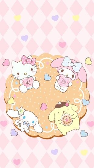 Hello Kitty, My Melody, Cinnamonroll, Pompompurin