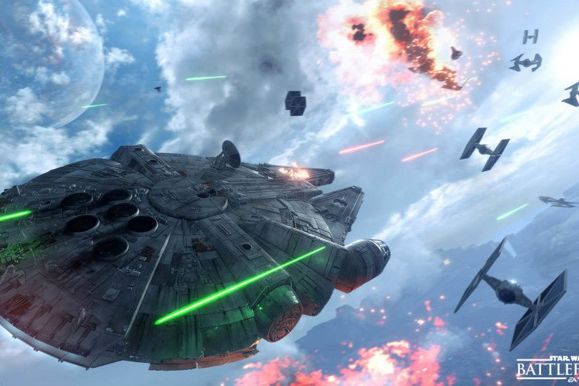 Star Wars Battlefront - Millennium Falcon vs Tie Fighters 1920x1080  wallpaper