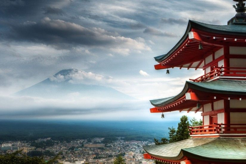 Mount Fuji Temple Wide Wallpaper