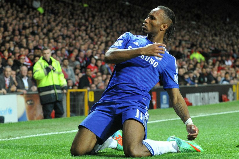 Chelsea Didier Drogba Sliding On His Knees