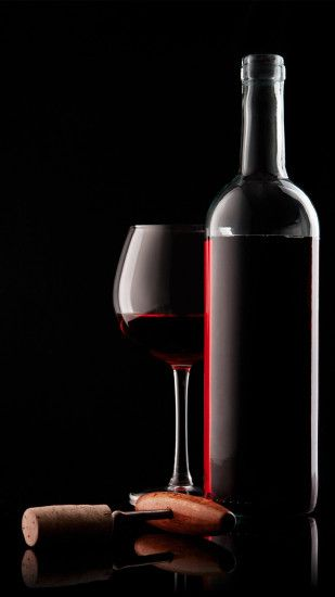 Red Wine Glass Bottle And Corkscrew #iPhone #6 #wallpaper