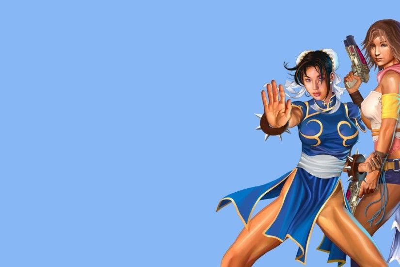 Chun Li, Yuna, Street Fighter, Final Fantasy, Illustration, Blue background  Wallpapers HD / Desktop and Mobile Backgrounds