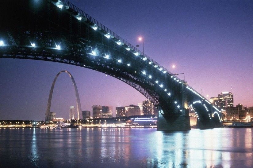 HD A Bridge At Night Into St. Louis Wallpaper | Download Free - 71136