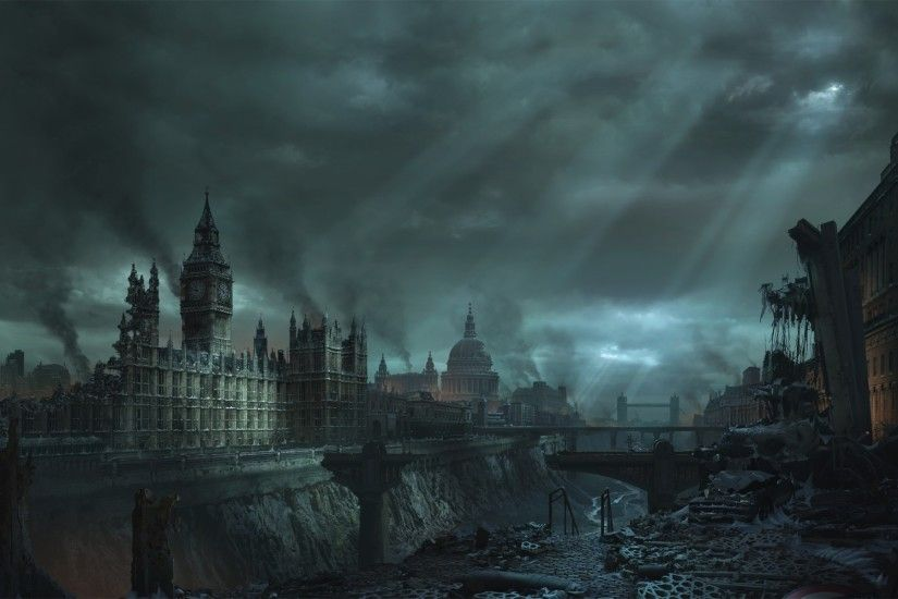 artwork, Apocalyptic, London, Big Ben Wallpapers HD / Desktop and Mobile  Backgrounds